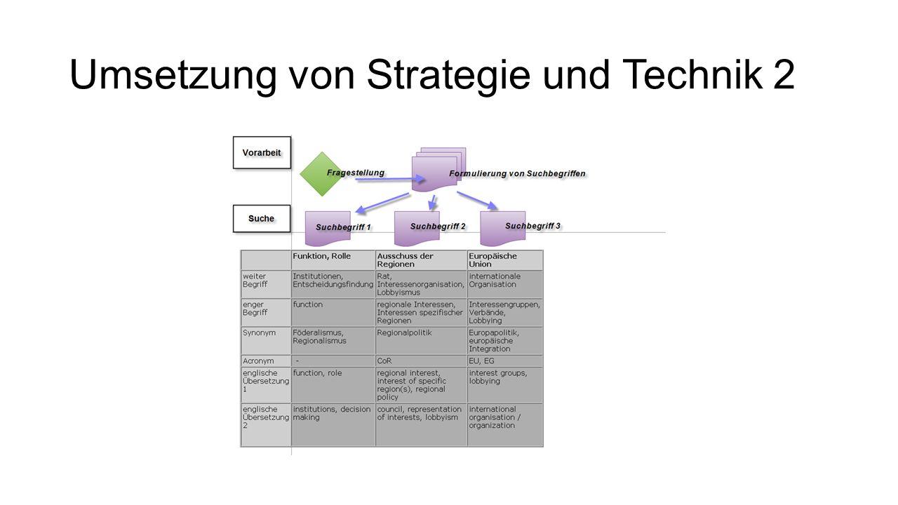 Umsetzung von Strategie und Technik 2
