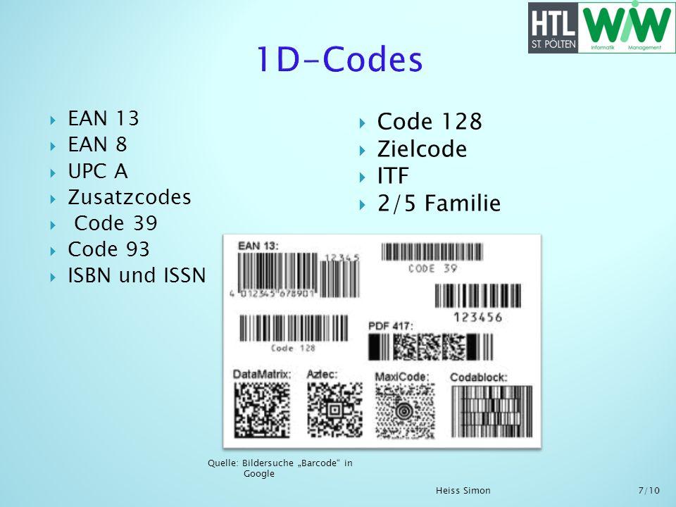 EAN 13 EAN 8 UPC A Zusatzcodes Code 39 Code 93 ISBN und ISSN Quelle: Bildersuche Barcode in Google Code 128 Zielcode ITF 2/5 Familie Heiss Simon 7/10