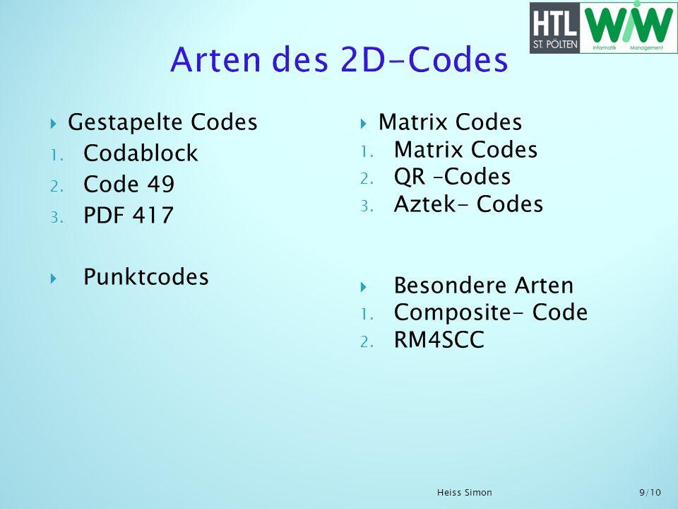 Gestapelte Codes 1. Codablock 2. Code 49 3. PDF 417 Punktcodes Matrix Codes 1. Matrix Codes 2. QR –Codes 3. Aztek- Codes Besondere Arten 1. Composite-