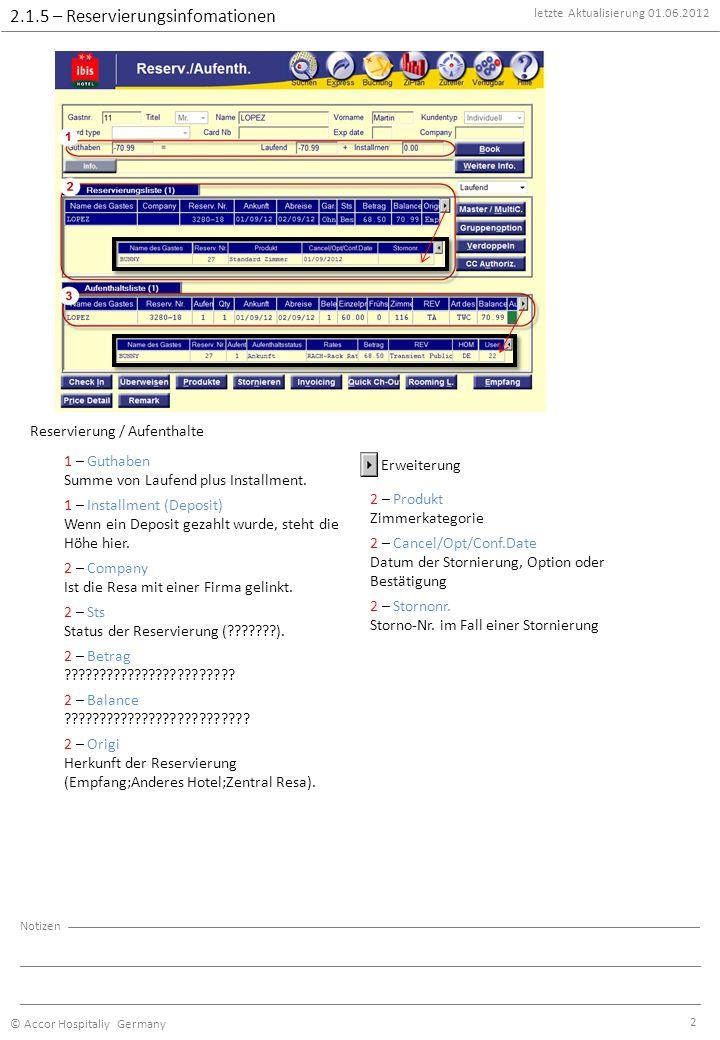 letzte Aktualisierung 01.06.2012 © Accor Hospitaliy Germany Notizen 2 2.1.5 – Reservierungsinfomationen Reservierung / Aufenthalte 1 – Guthaben Summe von Laufend plus Installment.
