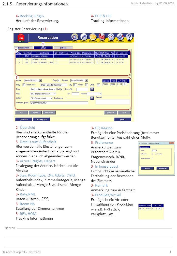 letzte Aktualisierung 01.06.2012 © Accor Hospitaliy Germany Notizen 5 2.1.5 – Reservierungsinfomationen 4- Booking Origin Herkunft der Reservierung.