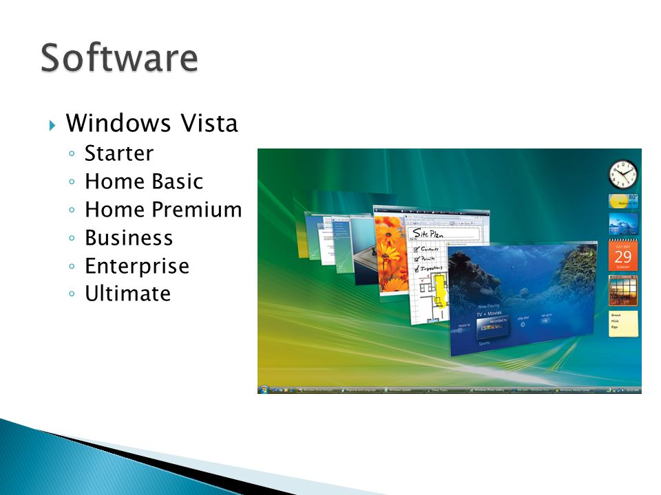 Windows Vista Starter Home Basic Home Premium Business Enterprise Ultimate