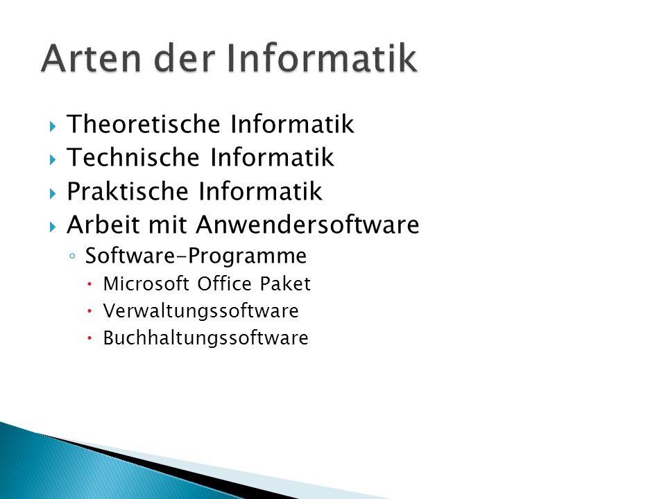 Theoretische Informatik Technische Informatik Praktische Informatik Arbeit mit Anwendersoftware Software-Programme Microsoft Office Paket Verwaltungss