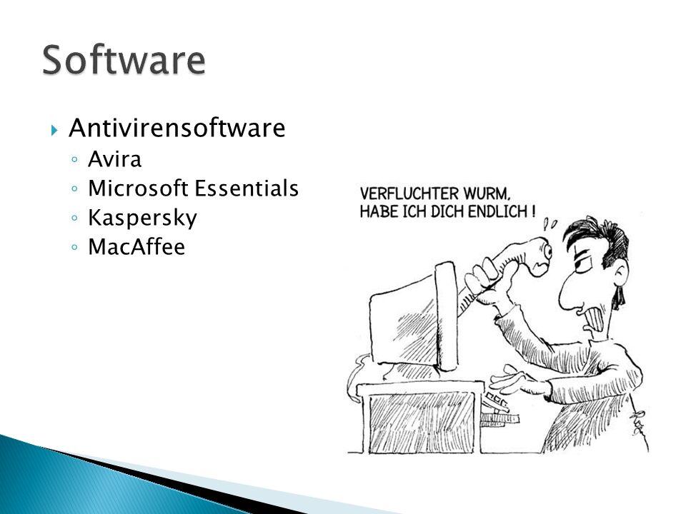 Antivirensoftware Avira Microsoft Essentials Kaspersky MacAffee