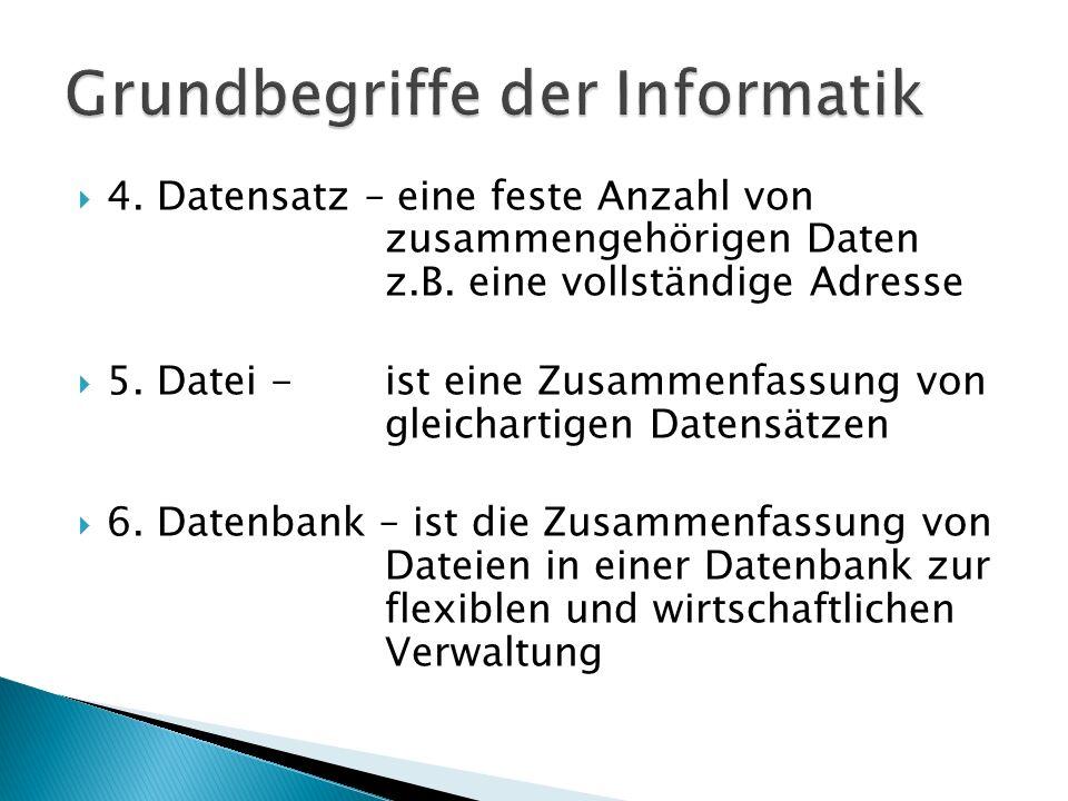 4. Datensatz – eine feste Anzahl von zusammengehörigen Daten z.B. eine vollständige Adresse 5. Datei -ist eine Zusammenfassung von gleichartigen Daten