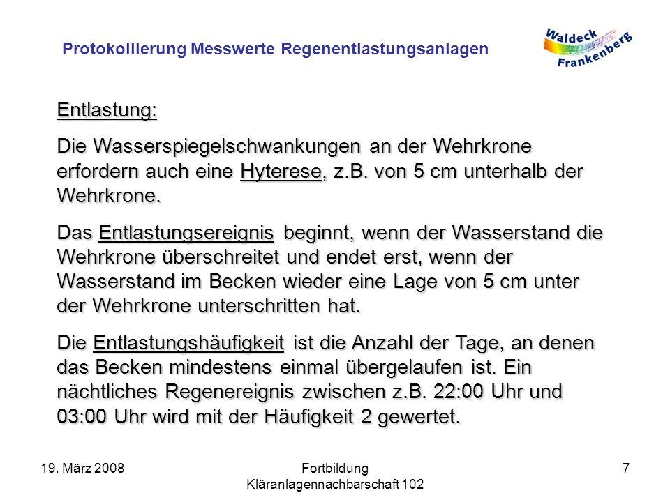 Protokollierung Messwerte Regenentlastungsanlagen 19.