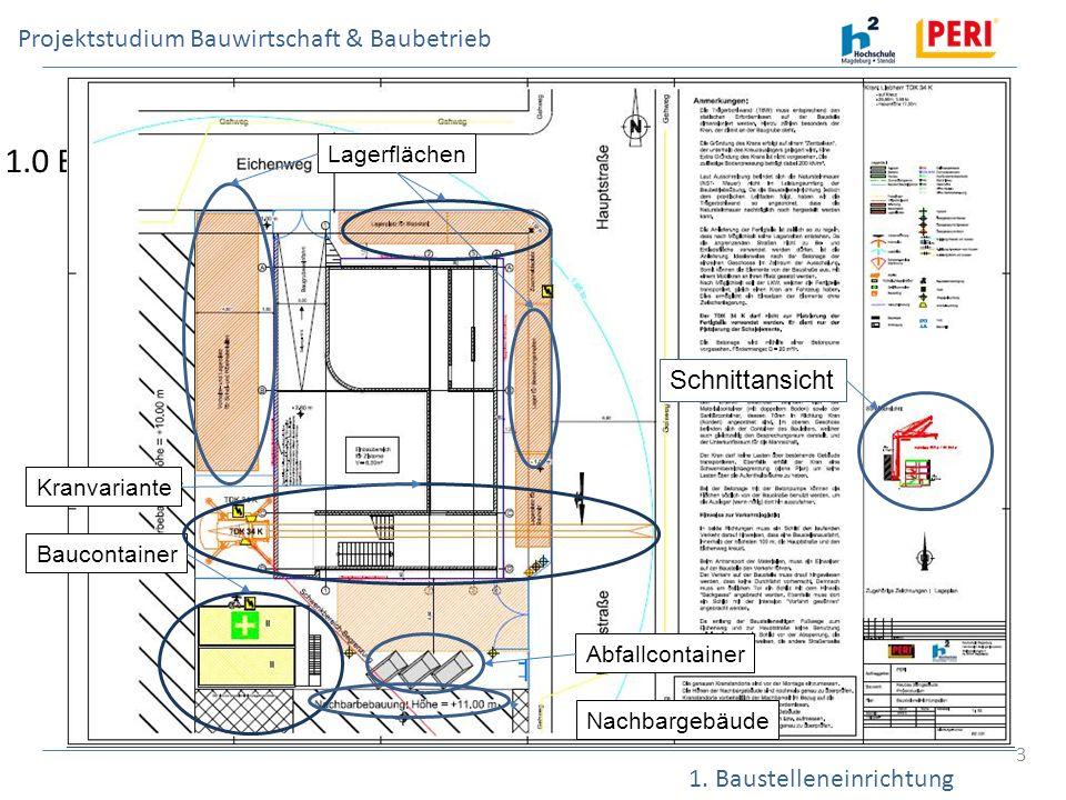 Projektstudium Bauwirtschaft & Baubetrieb 1. Baustelleneinrichtung 3 1.0 Baustelleneinrichtung und erforderliche Kennwerte Anzahl der Arbeitnehmer Anz