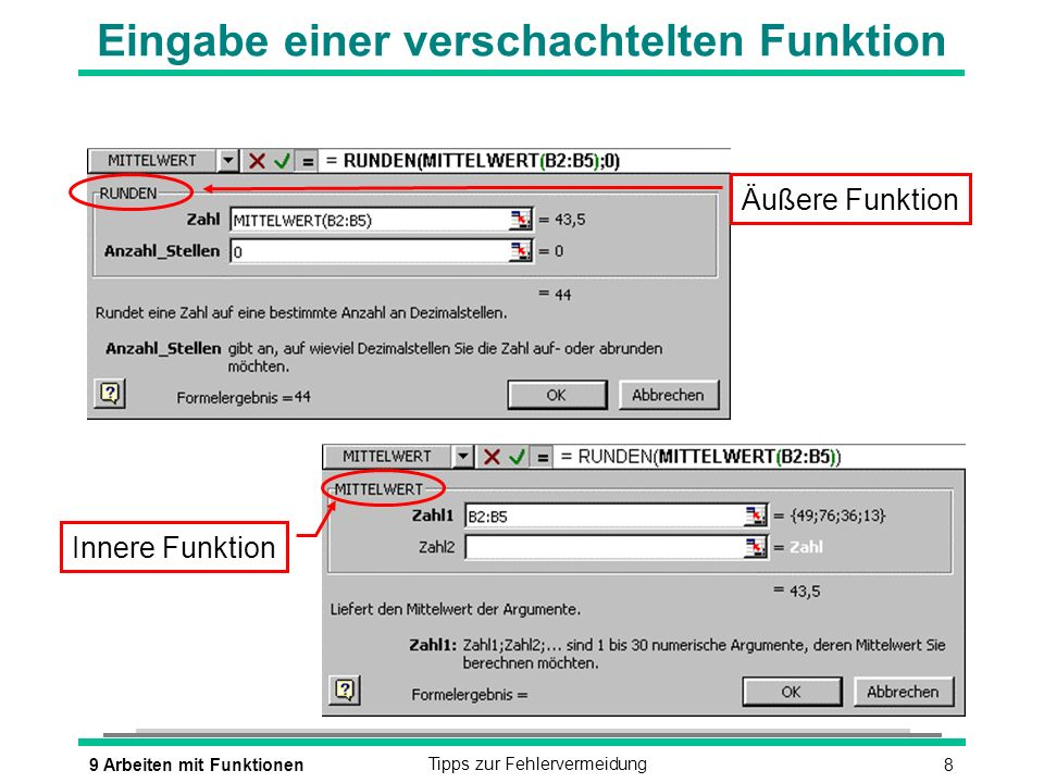 89 Arbeiten mit FunktionenTipps zur Fehlervermeidung Eingabe einer verschachtelten Funktion Innere Funktion Äußere Funktion