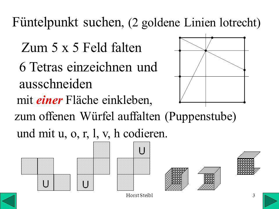 Horst Steibl3 mit einer Fläche einkleben, Zum 5 x 5 Feld falten Füntelpunkt suchen, (2 goldene Linien lotrecht) 6 Tetras einzeichnen und ausschneiden zum offenen Würfel auffalten (Puppenstube) und mit u, o, r, l, v, h codieren.
