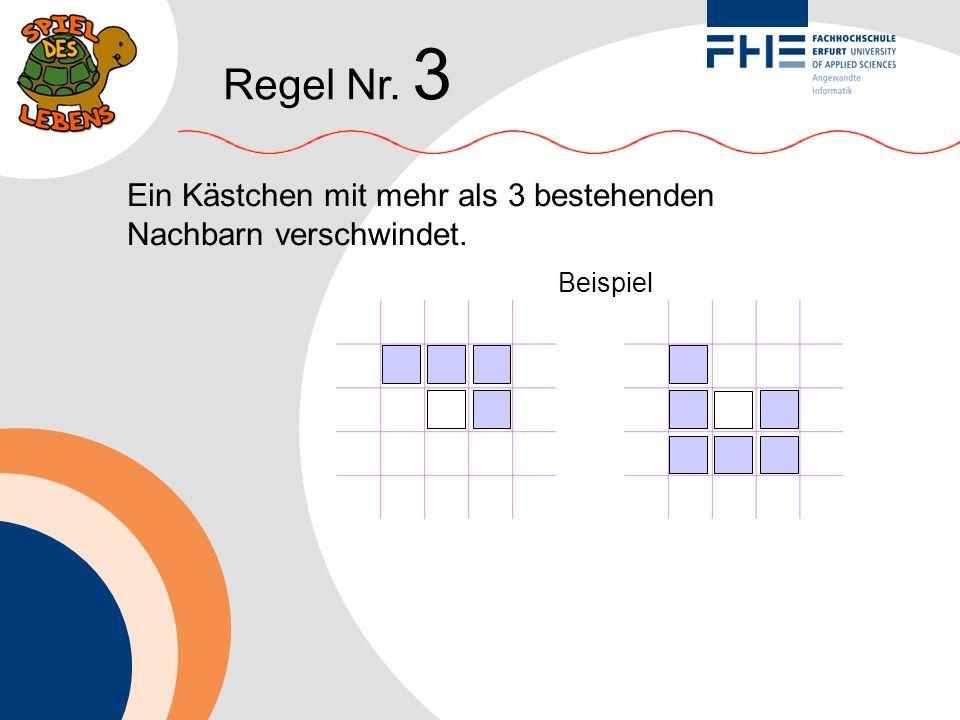 Regel Nr. 3 Ein Kästchen mit mehr als 3 bestehenden Nachbarn verschwindet. Beispiel
