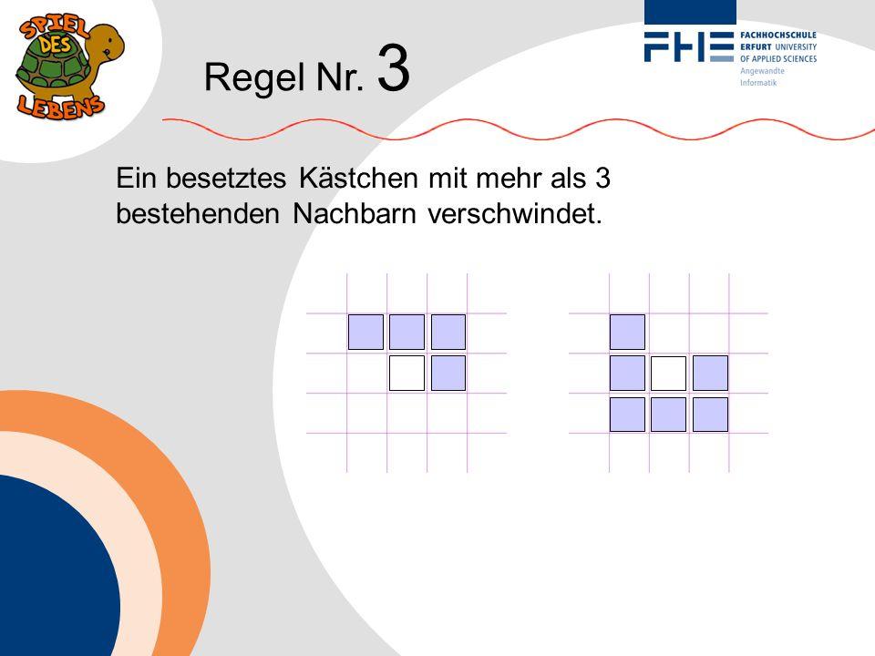 Regel Nr. 3 Ein besetztes Kästchen mit mehr als 3 bestehenden Nachbarn verschwindet.