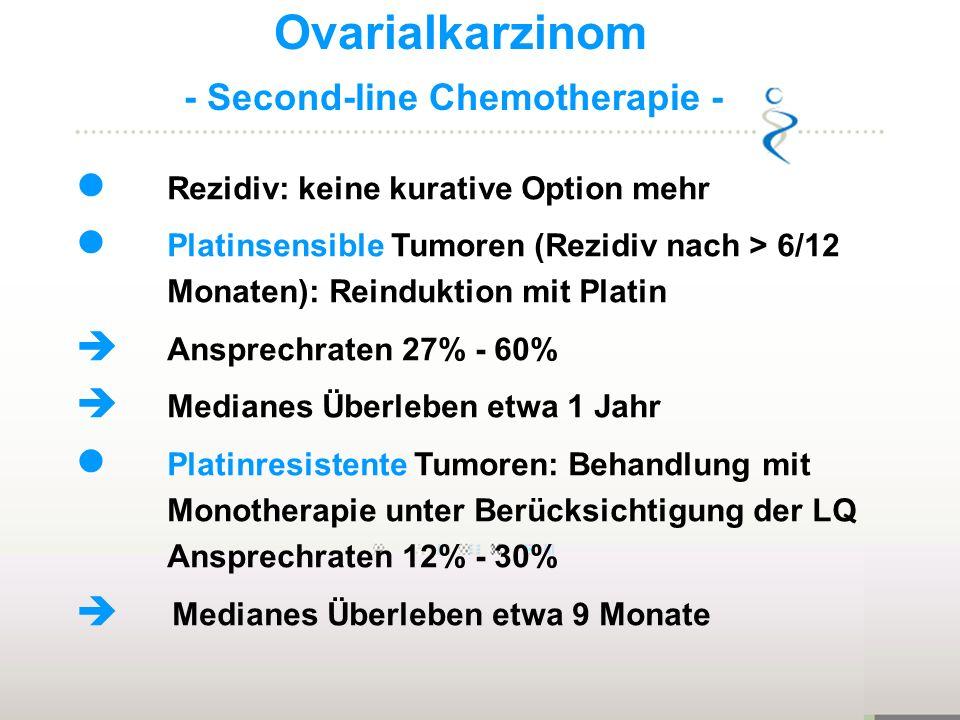 Ovarialkarzinom - Second-line Chemotherapie - Rezidiv: keine kurative Option mehr Platinsensible Tumoren (Rezidiv nach > 6/12 Monaten): Reinduktion mi