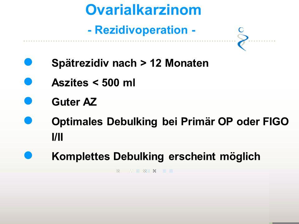 Ovarialkarzinom - Rezidivoperation - Spätrezidiv nach > 12 Monaten Aszites < 500 ml Guter AZ Optimales Debulking bei Primär OP oder FIGO I/II Komplett