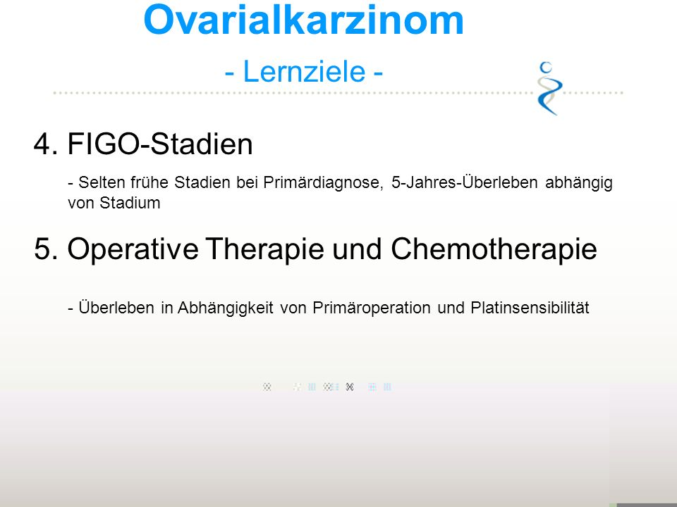 Ovarialkarzinom - Lernziele - 4. FIGO-Stadien - Selten frühe Stadien bei Primärdiagnose, 5-Jahres-Überleben abhängig von Stadium 5. Operative Therapie
