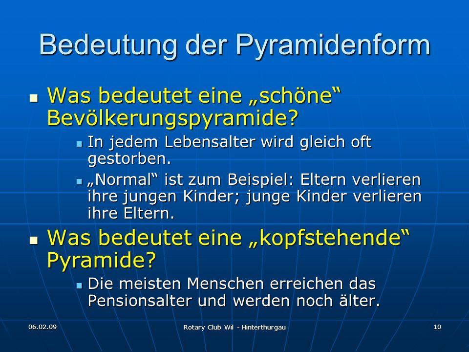 06.02.09 Rotary Club Wil - Hinterthurgau 10 Bedeutung der Pyramidenform Was bedeutet eine schöne Bevölkerungspyramide? Was bedeutet eine schöne Bevölk