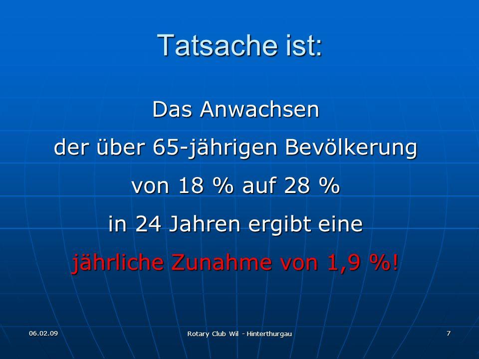 06.02.09 Rotary Club Wil - Hinterthurgau 7 Tatsache ist: Das Anwachsen der über 65-jährigen Bevölkerung von 18 % auf 28 % in 24 Jahren ergibt eine jäh