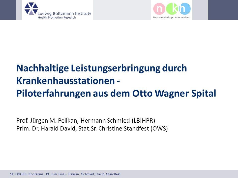 14. ONGKG Konferenz, 19. Juni, Linz - Pelikan, Schmied, David, Standfest Nachhaltige Leistungserbringung durch Krankenhausstationen - Piloterfahrungen