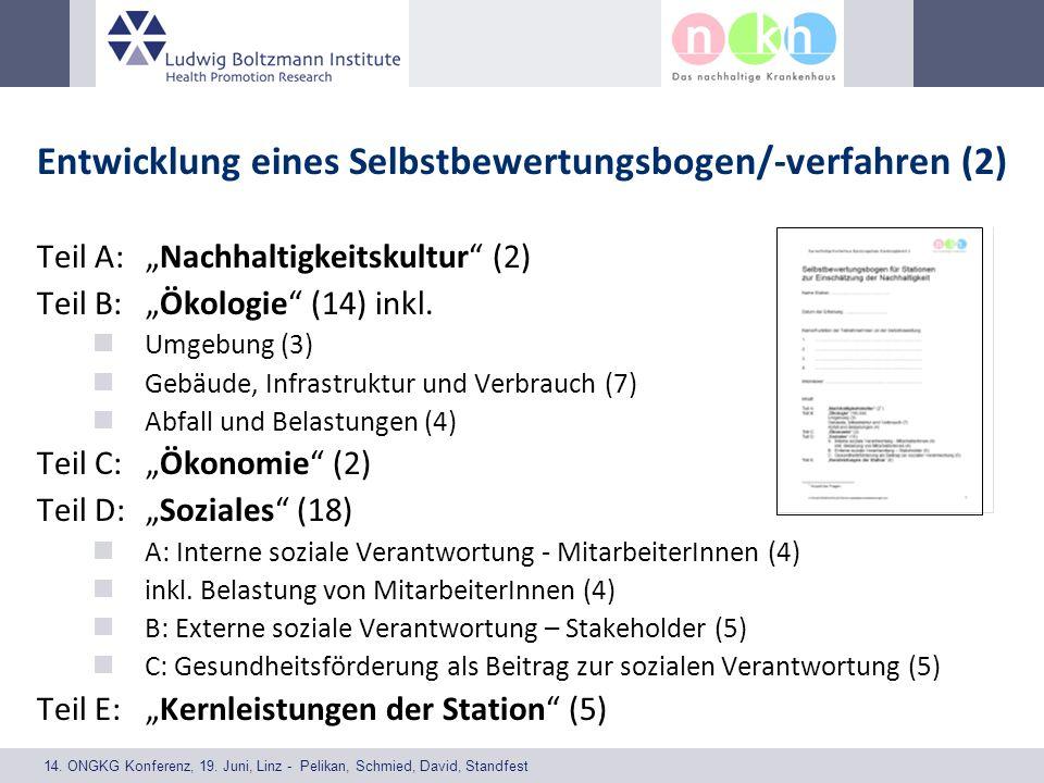 14. ONGKG Konferenz, 19. Juni, Linz - Pelikan, Schmied, David, Standfest Entwicklung eines Selbstbewertungsbogen/-verfahren (2) Teil A: Nachhaltigkeit