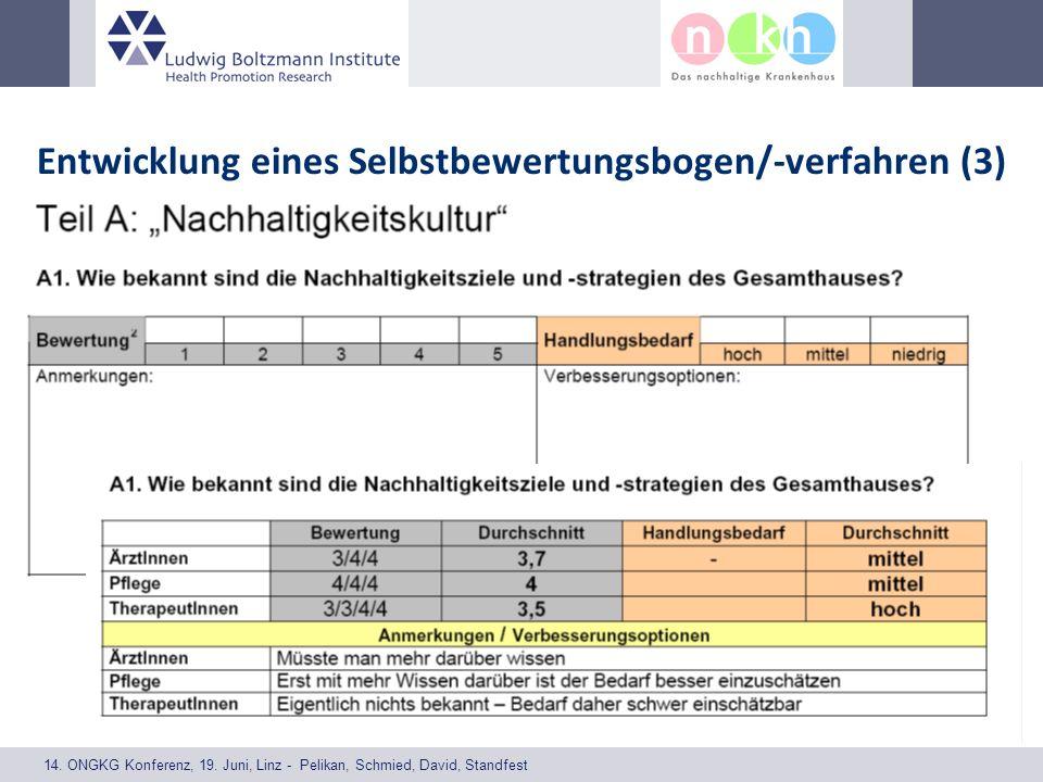 14. ONGKG Konferenz, 19. Juni, Linz - Pelikan, Schmied, David, Standfest Entwicklung eines Selbstbewertungsbogen/-verfahren (3)