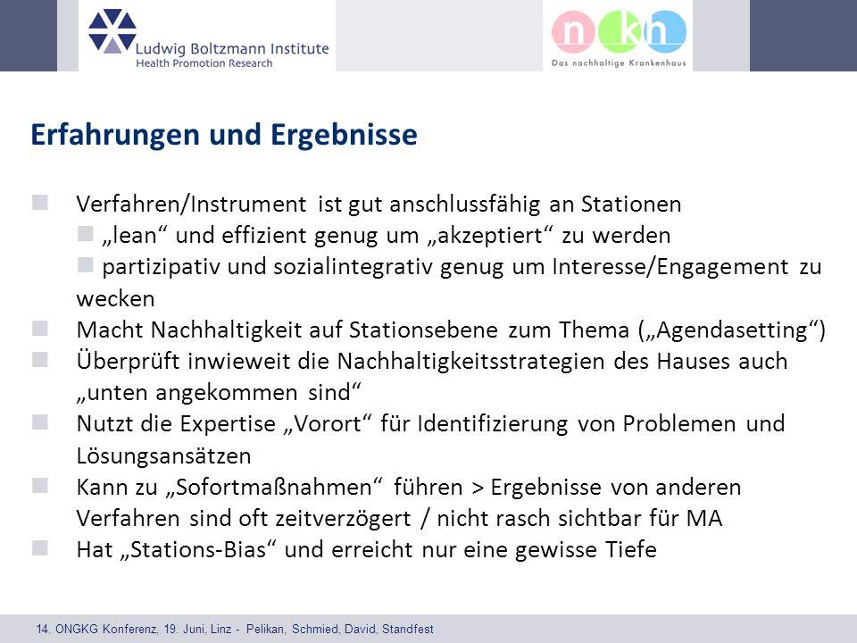 14. ONGKG Konferenz, 19. Juni, Linz - Pelikan, Schmied, David, Standfest Erfahrungen und Ergebnisse Verfahren/Instrument ist gut anschlussfähig an Sta