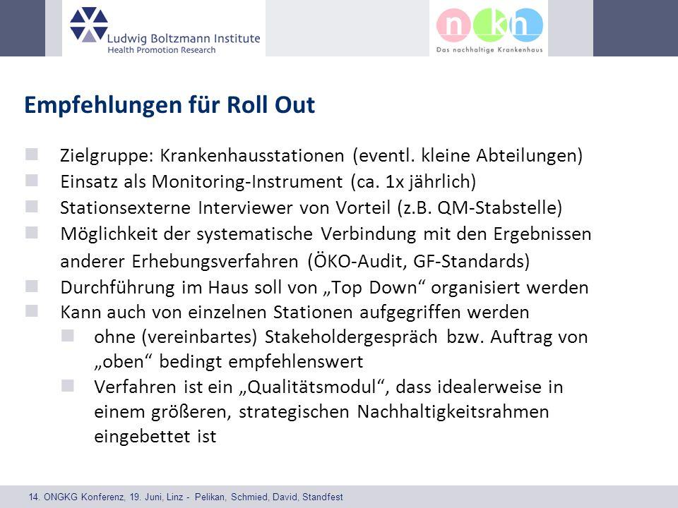 14. ONGKG Konferenz, 19. Juni, Linz - Pelikan, Schmied, David, Standfest Empfehlungen für Roll Out Zielgruppe: Krankenhausstationen (eventl. kleine Ab