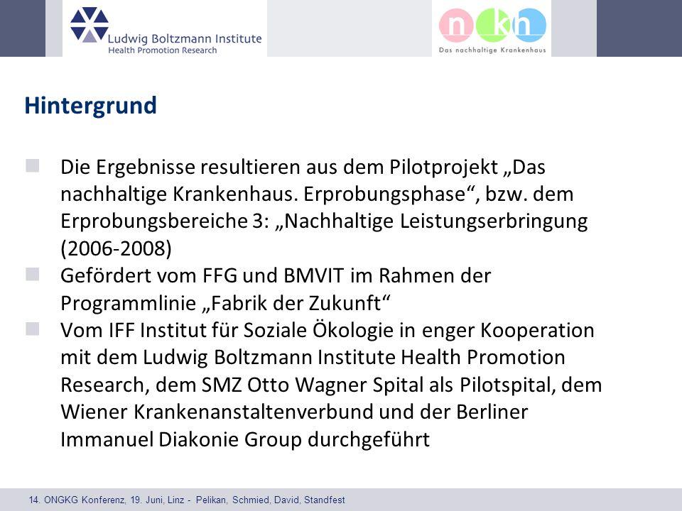 14. ONGKG Konferenz, 19. Juni, Linz - Pelikan, Schmied, David, Standfest Hintergrund Die Ergebnisse resultieren aus dem Pilotprojekt Das nachhaltige K