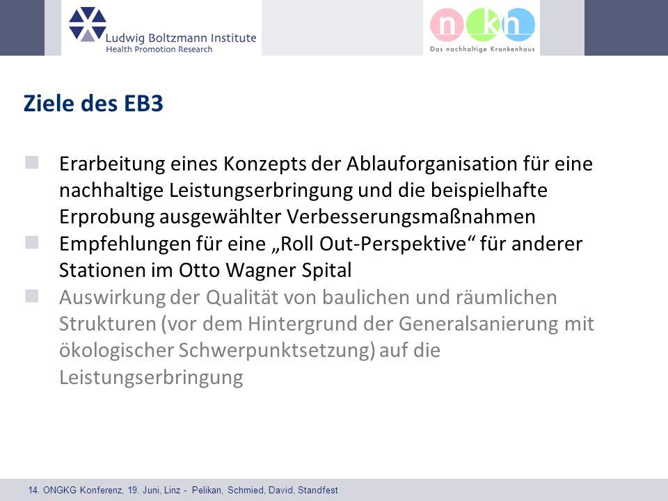 14. ONGKG Konferenz, 19. Juni, Linz - Pelikan, Schmied, David, Standfest Ziele des EB3 Erarbeitung eines Konzepts der Ablauforganisation für eine nach