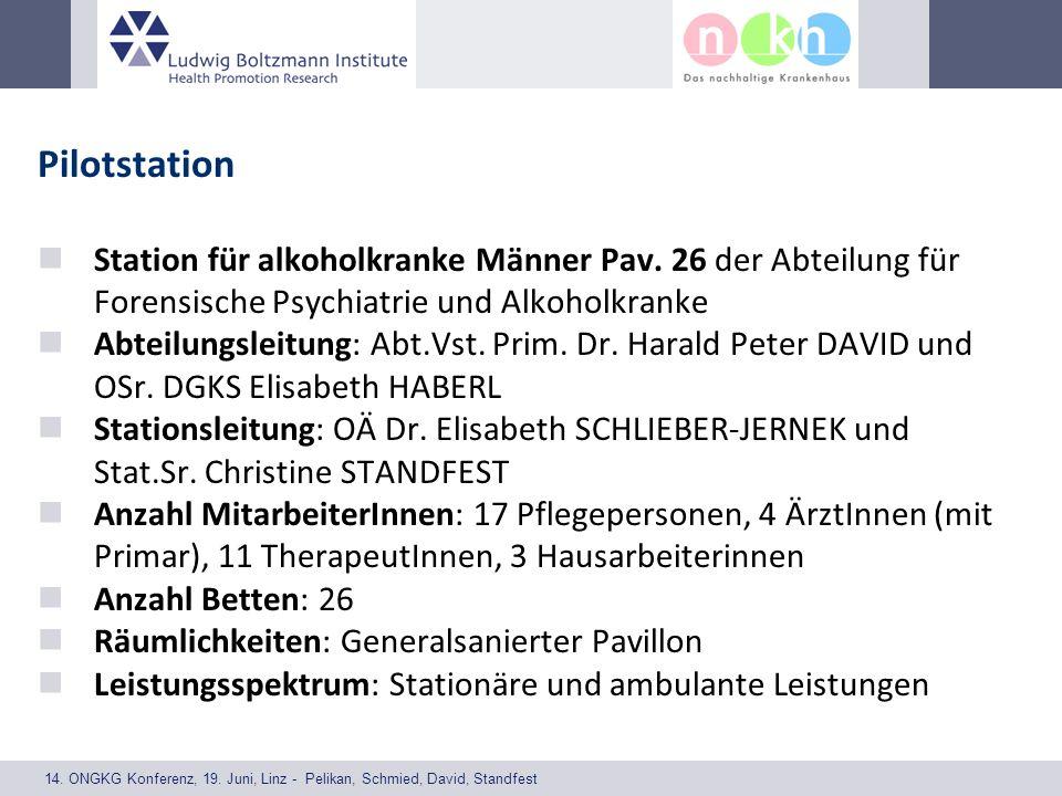 14. ONGKG Konferenz, 19. Juni, Linz - Pelikan, Schmied, David, Standfest Pilotstation Station für alkoholkranke Männer Pav. 26 der Abteilung für Foren