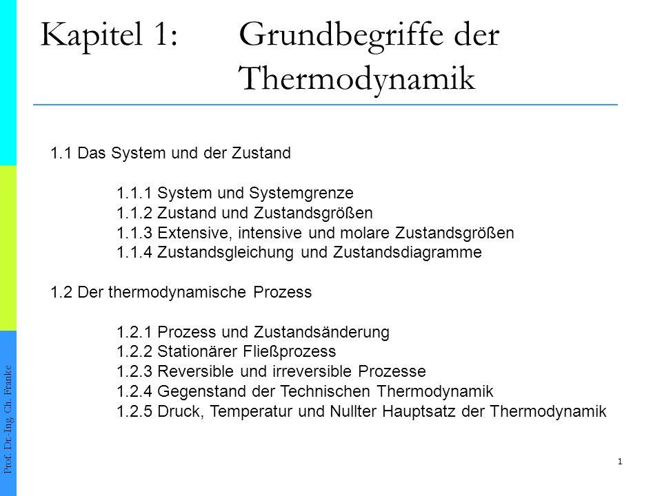 1 Kapitel 1:Grundbegriffe der Thermodynamik Prof. Dr.-Ing. Ch. Franke 1.1 Das System und der Zustand 1.1.1 System und Systemgrenze 1.1.2 Zustand und Z