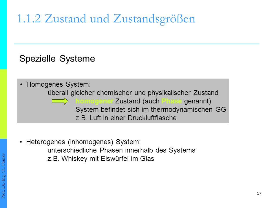 17 1.1.2Zustand und Zustandsgrößen Prof. Dr.-Ing. Ch. Franke Spezielle Systeme Homogenes System: überall gleicher chemischer und physikalischer Zustan