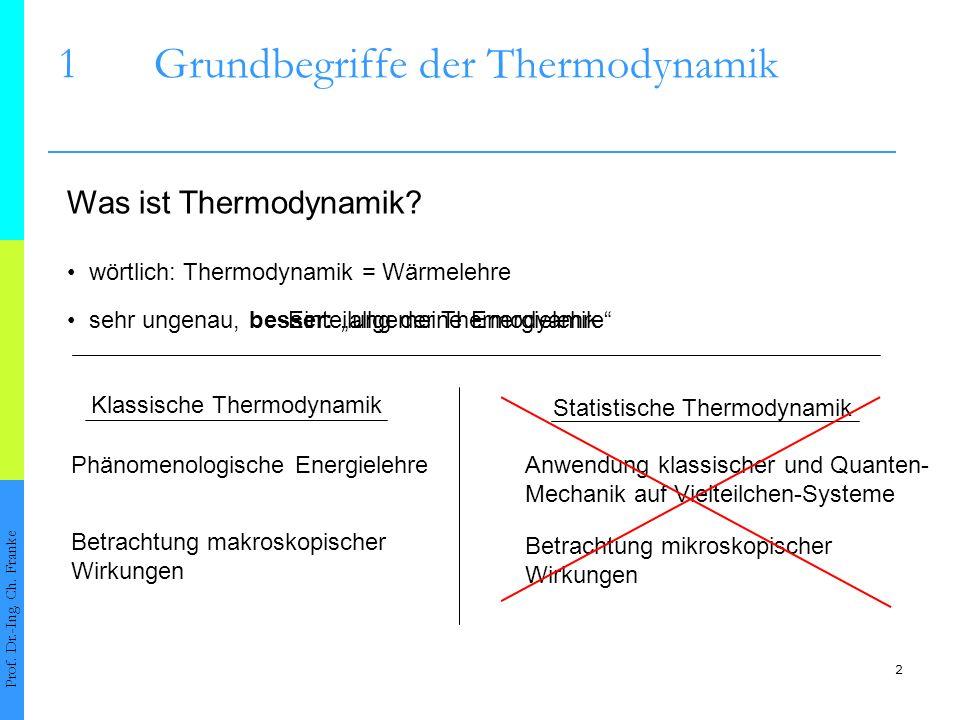 2 1Grundbegriffe der Thermodynamik Prof. Dr.-Ing. Ch. Franke Was ist Thermodynamik? Phänomenologische Energielehre wörtlich: Thermodynamik = Wärmelehr