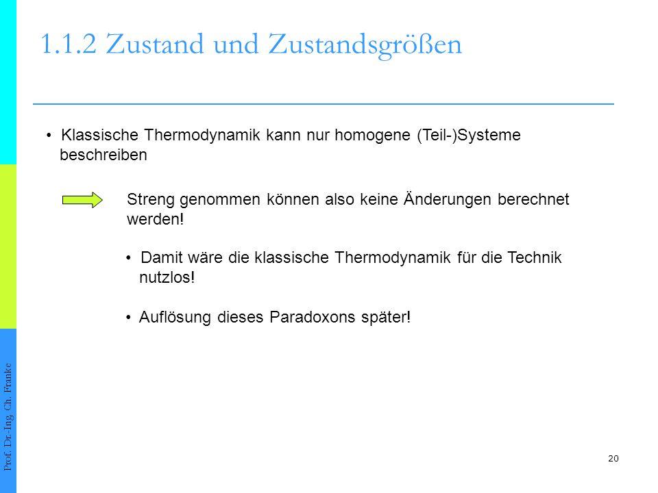 20 1.1.2Zustand und Zustandsgrößen Prof. Dr.-Ing. Ch. Franke Klassische Thermodynamik kann nur homogene (Teil-)Systeme beschreiben Streng genommen kön