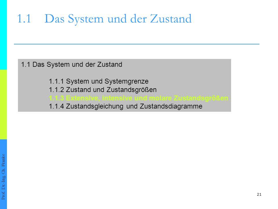 21 1.1Das System und der Zustand Prof. Dr.-Ing. Ch. Franke 1.1 Das System und der Zustand 1.1.1 System und Systemgrenze 1.1.2 Zustand und Zustandsgröß