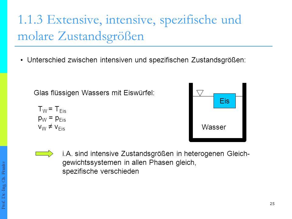 25 1.1.3Extensive, intensive, spezifische und molare Zustandsgrößen Prof. Dr.-Ing. Ch. Franke Unterschied zwischen intensiven und spezifischen Zustand