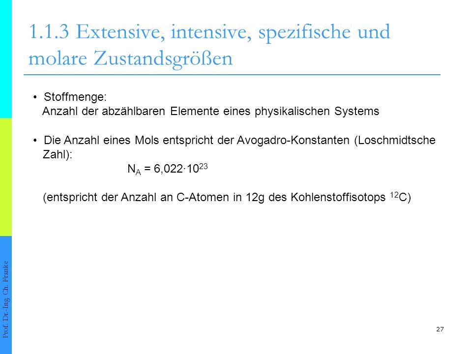 27 1.1.3Extensive, intensive, spezifische und molare Zustandsgrößen Prof. Dr.-Ing. Ch. Franke Stoffmenge: Anzahl der abzählbaren Elemente eines physik