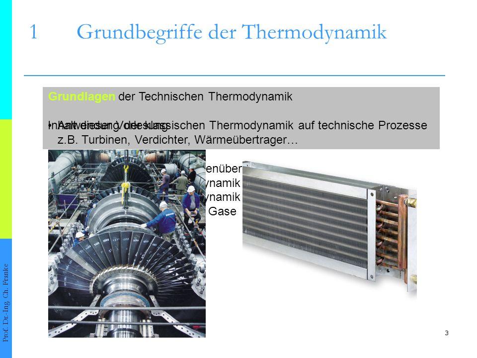 3 Technische Thermodynamik: Anwendung der klassischen Thermodynamik auf technische Prozesse z.B. Turbinen, Verdichter, Wärmeübertrager… Grundlagen der