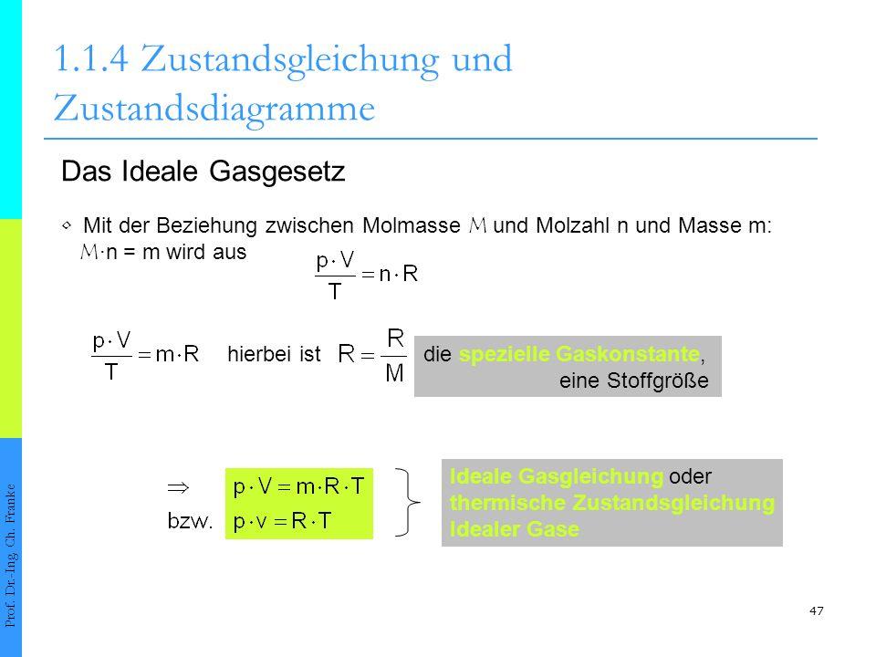 47 1.1.4Zustandsgleichung und Zustandsdiagramme Prof. Dr.-Ing. Ch. Franke Das Ideale Gasgesetz Mit der Beziehung zwischen Molmasse M und Molzahl n und
