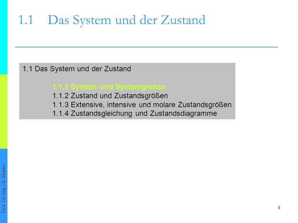 5 1.1Das System und der Zustand Prof. Dr.-Ing. Ch. Franke 1.1 Das System und der Zustand 1.1.1 System und Systemgrenze 1.1.2 Zustand und Zustandsgröße