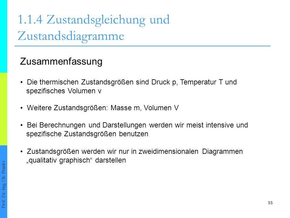 55 1.1.4Zustandsgleichung und Zustandsdiagramme Prof. Dr.-Ing. Ch. Franke Zusammenfassung Die thermischen Zustandsgrößen sind Druck p, Temperatur T un