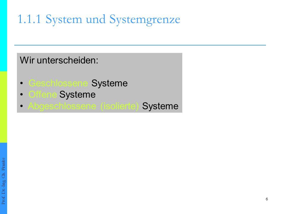 6 1.1.1System und Systemgrenze Prof. Dr.-Ing. Ch. Franke Wir unterscheiden: Geschlossene Systeme Offene Systeme Abgeschlossene (isolierte) Systeme