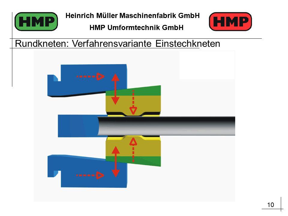10 Heinrich Müller Maschinenfabrik GmbH HMP Umformtechnik GmbH 10 Heinrich Müller Maschinenfabrik GmbH HMP Umformtechnik GmbH Rundkneten: Verfahrensvariante Einstechkneten
