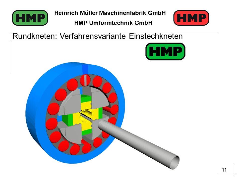 11 Heinrich Müller Maschinenfabrik GmbH HMP Umformtechnik GmbH 11 Heinrich Müller Maschinenfabrik GmbH HMP Umformtechnik GmbH Rundkneten: Verfahrensvariante Einstechkneten