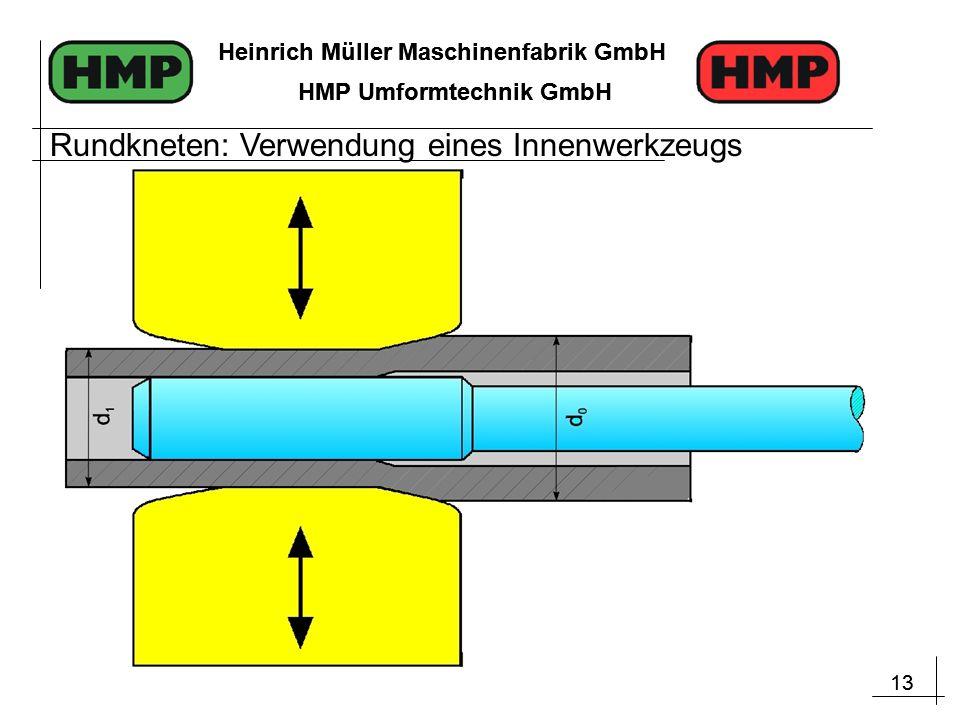 13 Heinrich Müller Maschinenfabrik GmbH HMP Umformtechnik GmbH 13 Heinrich Müller Maschinenfabrik GmbH HMP Umformtechnik GmbH Rundkneten: Verwendung eines Innenwerkzeugs