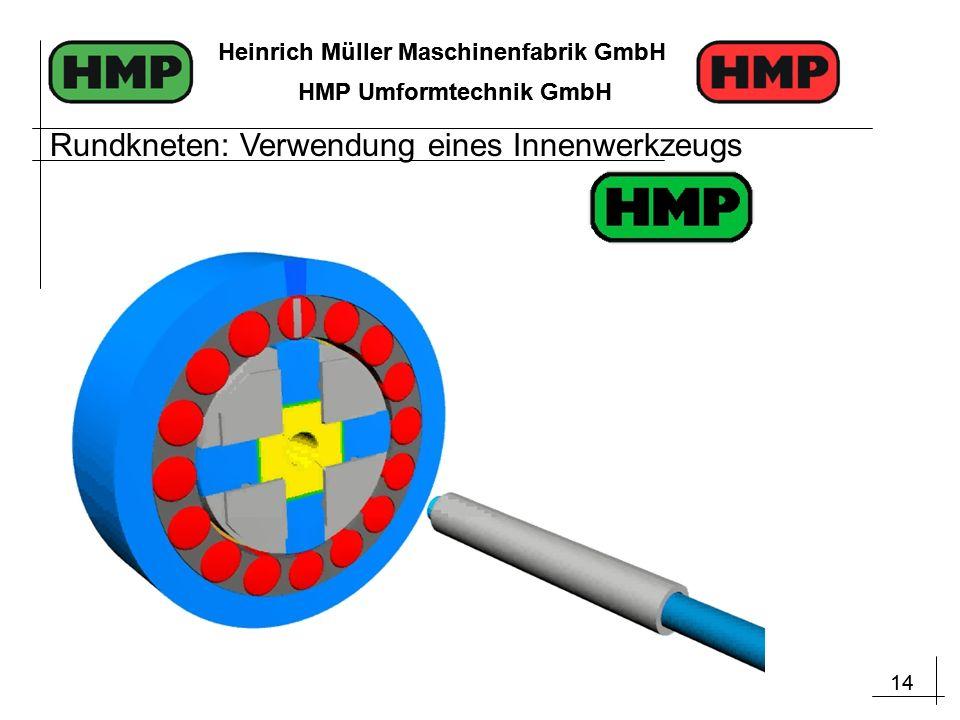 14 Heinrich Müller Maschinenfabrik GmbH HMP Umformtechnik GmbH 14 Heinrich Müller Maschinenfabrik GmbH HMP Umformtechnik GmbH Rundkneten: Verwendung eines Innenwerkzeugs