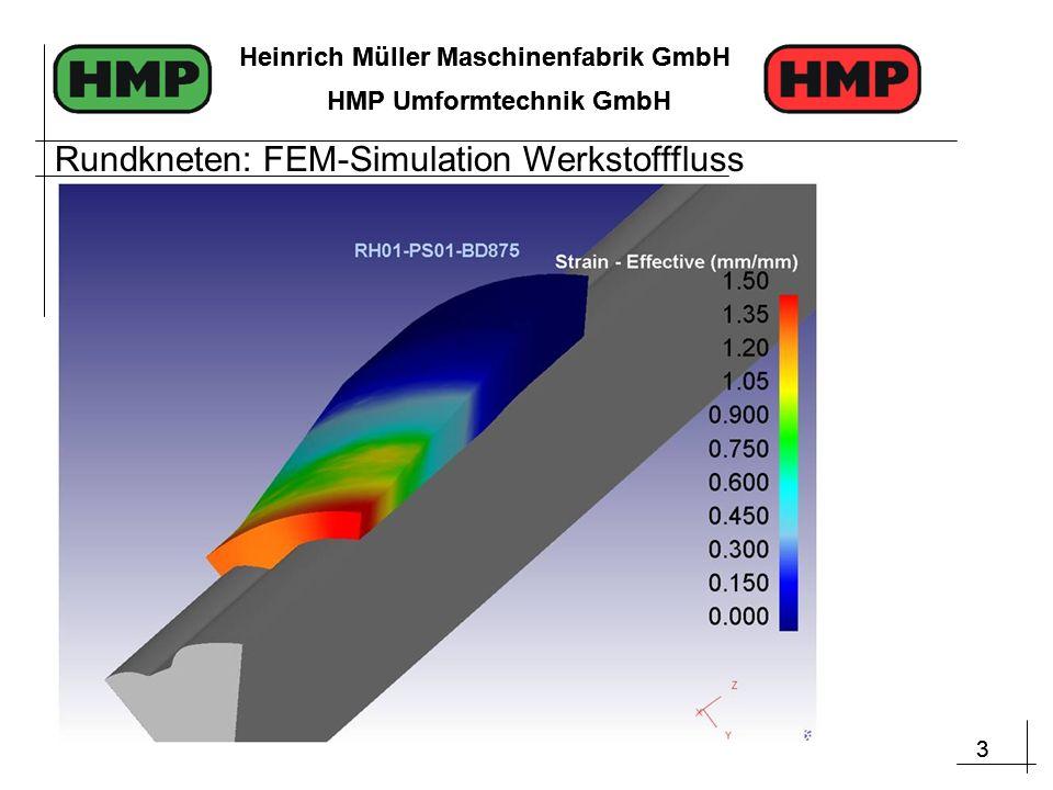 3 Heinrich Müller Maschinenfabrik GmbH HMP Umformtechnik GmbH 3 Heinrich Müller Maschinenfabrik GmbH HMP Umformtechnik GmbH Rundkneten: FEM-Simulation Werkstofffluss