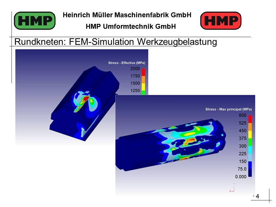 4 Heinrich Müller Maschinenfabrik GmbH HMP Umformtechnik GmbH 4 Heinrich Müller Maschinenfabrik GmbH HMP Umformtechnik GmbH Rundkneten: FEM-Simulation Werkzeugbelastung