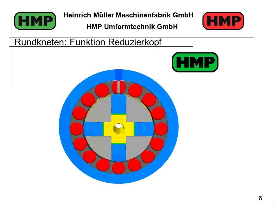 6 Heinrich Müller Maschinenfabrik GmbH HMP Umformtechnik GmbH 6 Heinrich Müller Maschinenfabrik GmbH HMP Umformtechnik GmbH Rundkneten: Funktion Reduzierkopf