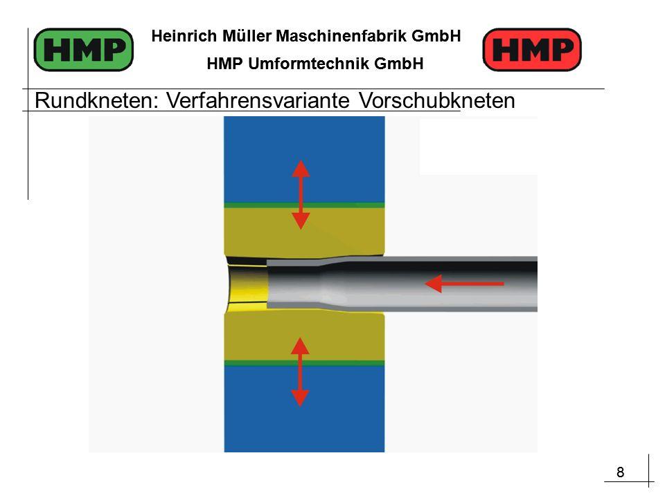 8 Heinrich Müller Maschinenfabrik GmbH HMP Umformtechnik GmbH 8 Heinrich Müller Maschinenfabrik GmbH HMP Umformtechnik GmbH Rundkneten: Verfahrensvariante Vorschubkneten