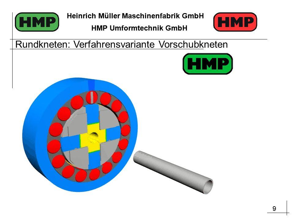 9 Heinrich Müller Maschinenfabrik GmbH HMP Umformtechnik GmbH 9 Heinrich Müller Maschinenfabrik GmbH HMP Umformtechnik GmbH Rundkneten: Verfahrensvariante Vorschubkneten