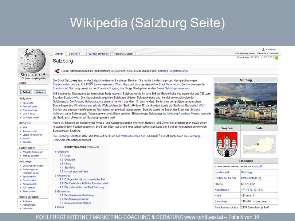 KOHLFÜRST INTERNET MARKETING COACHING & BERATUNG www.kohlfuerst.at – Folie 26 von 39 Sitemaps in HTML und XML On-Page Optimierung Das Inhaltsverzeichnis einer Website »Sitemap in HTML von jeder Seite verlinktHTML »Sitemap in XML nach www.Sitemaps.org StandardXML »Crawler haben leichtere Arbeit schont Ressourcen schnelleres Einlesen »PHP-Software für Server wie phpSitemapNG – Google Sitemap GeneratorphpSitemapNGGoogle Sitemap Generator »Webbasierende Software – Online GeneratorOnline Generator